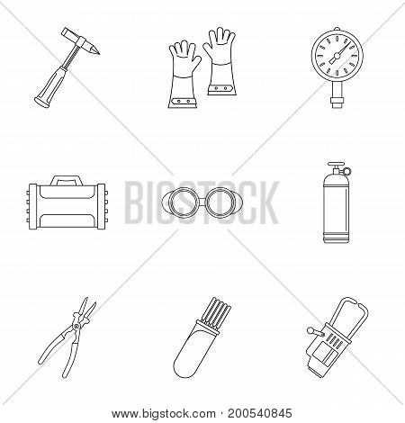 Welder profession icon set. Outline set of 9 welder profession vector icons for web isolated on white background