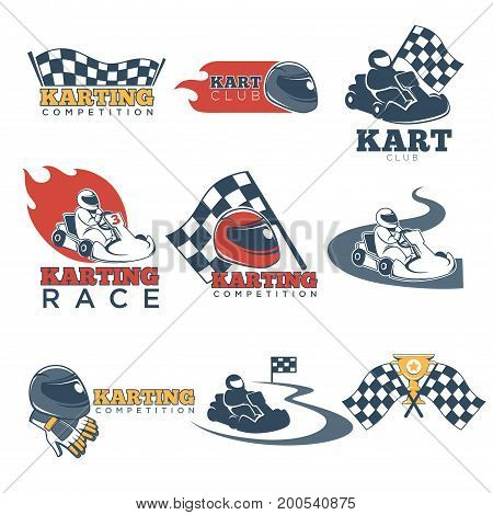 Karting races or kart club competition and tournament logo templates. Racing cars, steering wheel and winner golden cup on checkered flags. Vector isolated icons set