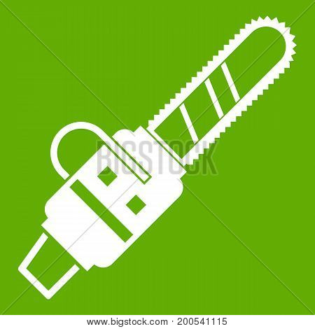 Gasoline powered chainsaw icon white isolated on green background. Vector illustration