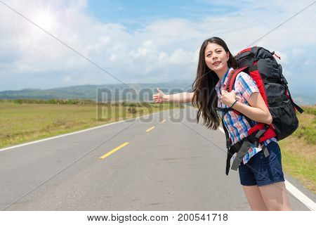 Female Backpacker In Sunny Afternoon Holiday