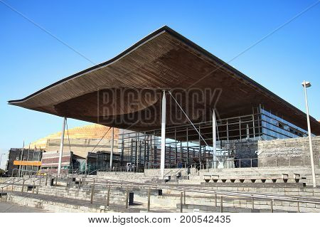 Cardiff, Wales, UK, September 14, 2016 :  The Senedd also known as the National Assembly Building is the home of the elected body which holds the Welsh government to account