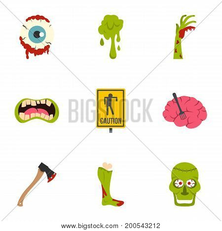 Zombie rip icon set. Flat set of 9 zombie rip vector icons for web isolated on white background