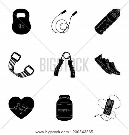 Jump rope, ball, scales other items for health.Gym And Workout set collection icons in black style vector symbol stock illustration.