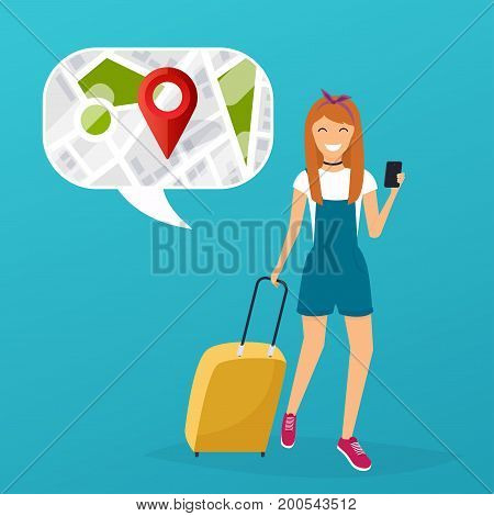 Young woman holding mobile smart phone with mobile gps searching point on the city map. Vector modern flat creative info graphics design on search app. Flat design modern vector illustration concept.