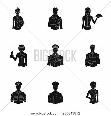 Doctor, worker, military, artist and other types of profession.Profession set collection icons in black style vector symbol stock illustration .