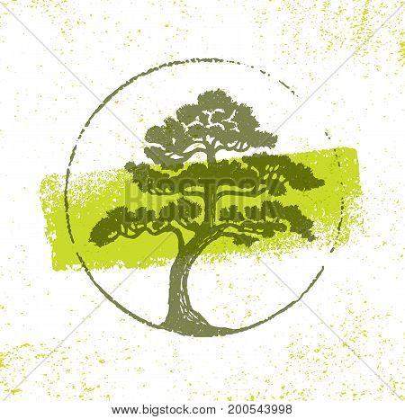 Landscape Design Tree Sign Rough Vector Design Element On Grunge Background