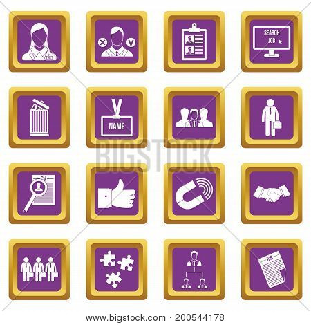Human resource management icons set in purple color isolated vector illustration for web and any design