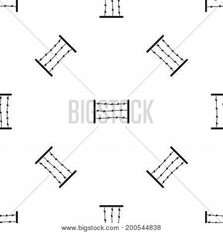 Restricted area pattern repeat seamless in black color for any design. Vector geometric illustration
