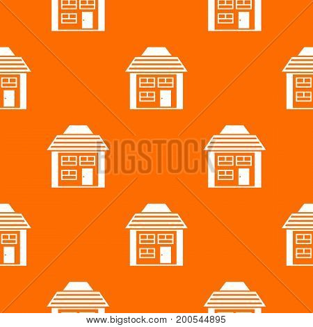 Two-storey house with sloping roof pattern repeat seamless in orange color for any design. Vector geometric illustration