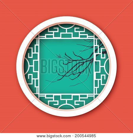 Paper cut Chinese traditional window. Origami round frame. Cherry branch. Vector illustration.
