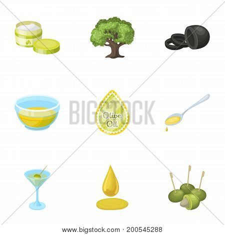 Olives, tree, branch and other products from olives.Olives set collection icons in cartoon style vector symbol stock illustration .