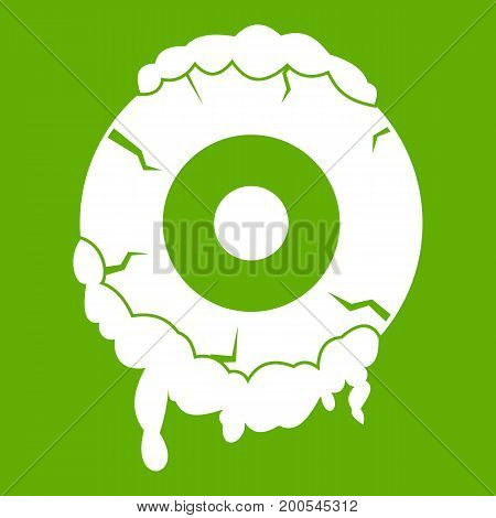 Scary eyeball icon white isolated on green background. Vector illustration