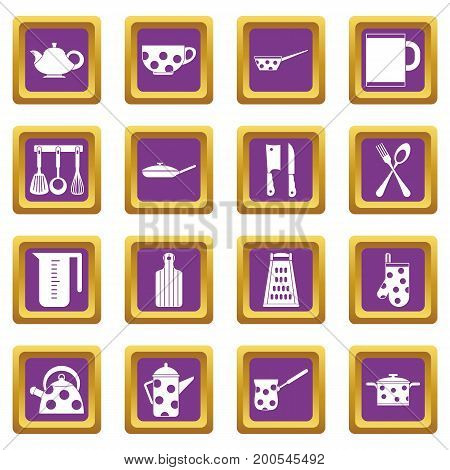 Kitchen tools and utensils icons set in purple color isolated vector illustration for web and any design