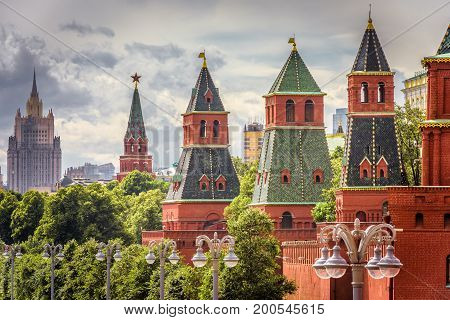 The Moscow Kremlin in summer, Russia. The Moscow Kremlin is the residence of the Russian president and the main tourist attraction of Moscow.