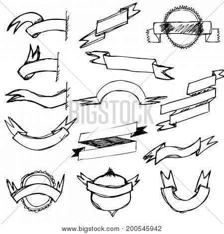 Hand Draw Ribbon Set