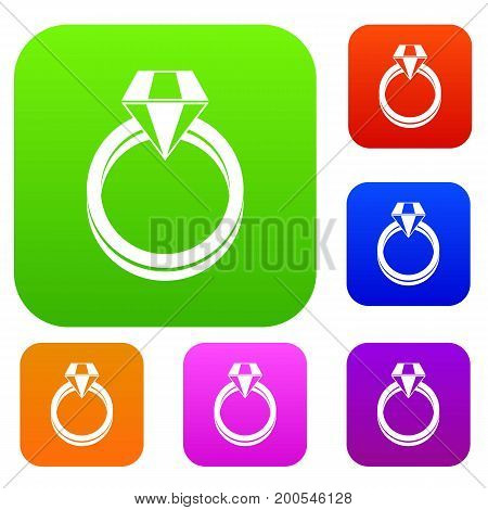 Single diamond ring in simple style isolated on white background vector illustration
