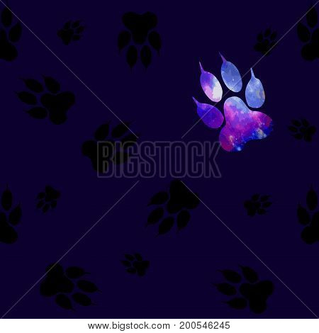 Seamless Pattern With Black Paws On A Dark Blue Background. Paw With A Space Pattern.