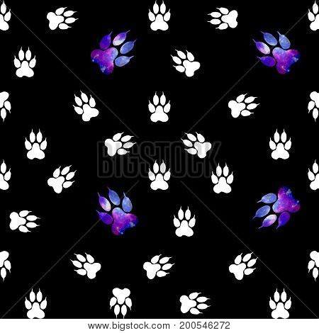 Seamless Pattern With White Paws On A Black Background. Paw With A Space Pattern.
