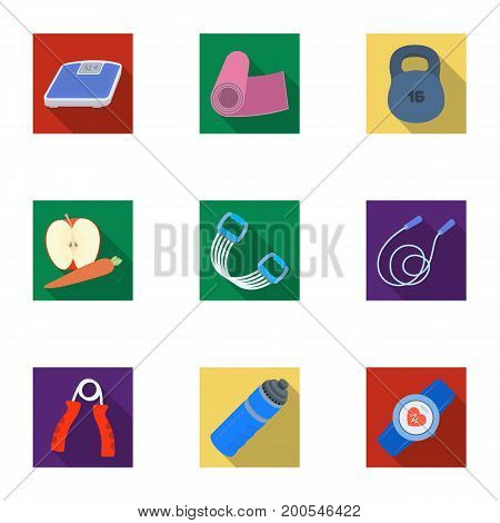 Jump rope, ball, scales other items for health.Gym And Workout set collection icons in flat style vector symbol stock illustration.