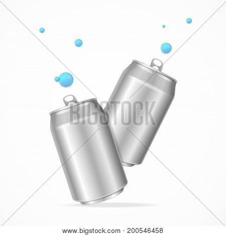 Realistic Template Empty Blank Steel Can Set Soft Drink with Blue Bubble Vector illustration of two cans view