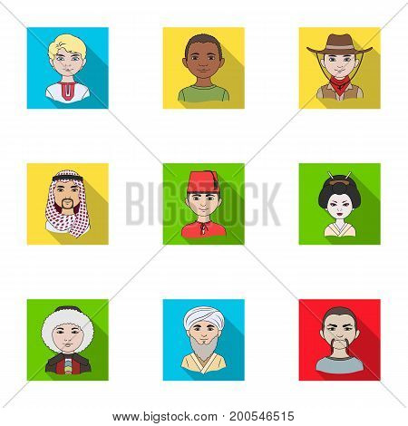 Chinese, russian, american, arab, indian, turk and other races. The human race set collection icons in flat style vector symbol stock illustration .