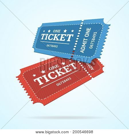 Ticket Fly Blank Admit Set Retro Old Style for Entertainment, Party and Amusement Show. Vector illustration of two tickets view