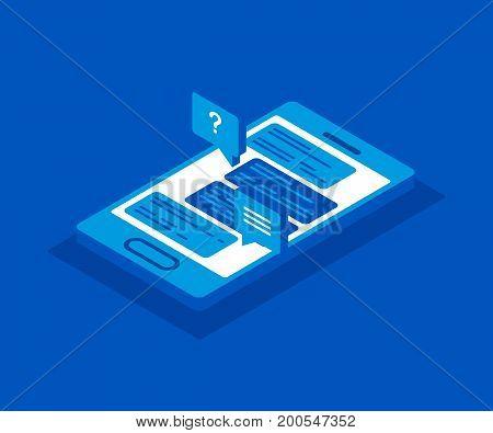 Vector 3d isometric smartphone icon. Social network concept. Messenger window.