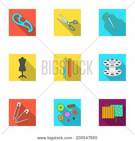 Machine, sewing, scissors and other sewing equipment. Medical, medicine set collection icons in flat style vector symbol stock illustration.