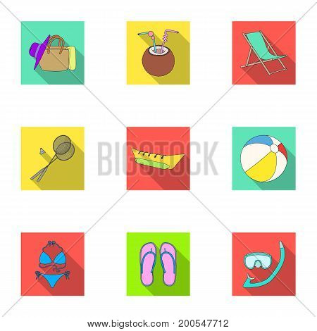 Chaise longue, ice cream, glasses items for summer holidays.Summer rest set collection icons in flat style vector symbol stock illustration .