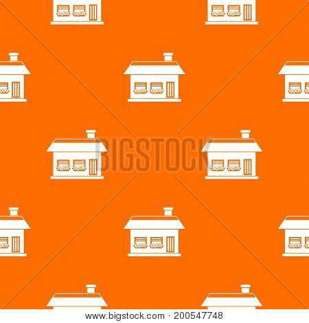 One storey house with two windows pattern repeat seamless in orange color for any design. Vector geometric illustration