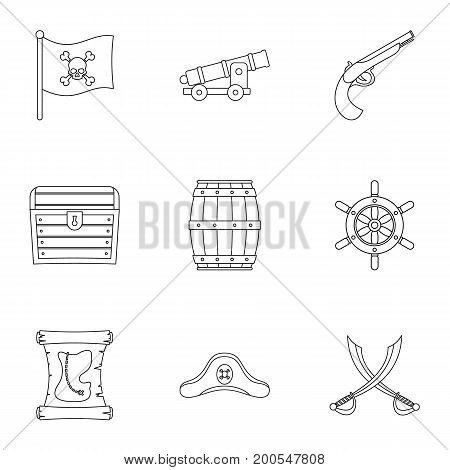 Pirates adventure icon set. Outline set of 9 pirates adventure vector icons for web isolated on white background