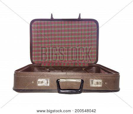 Old Suitcase Open Isolated. Vintage Case. Retro Handbag