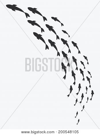Silhouettes of groups of sea fishes. Colony of small fish. Icon with river taxers.