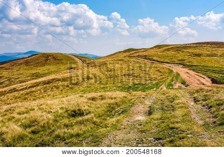 Mountain Ridge Dirt Road  Under The Clouds