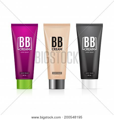 Realistic 3d Color Empty Template Bb Cream Tube Package Set for Skin Care Product. Vector illustration of three Tubes view