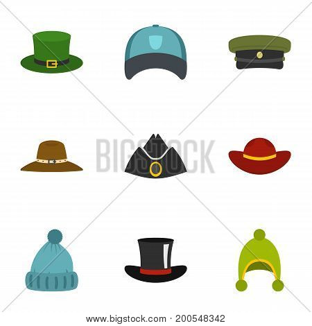 Hat wear icon set. Flat set of 9 hat wear vector icons for web isolated on white background