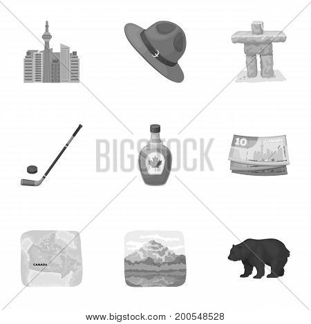 Wild animal, deer, horns and other Canada elements. Canada set collection icons in monochrome style vector symbol stock illustration.