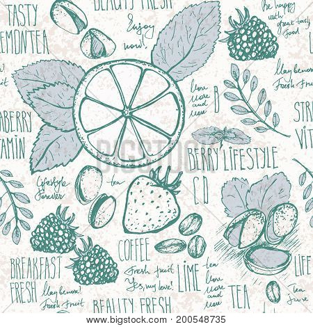 Sketched breakfast seamless background with croissant, lemon and berries. Hand draw endless pattern.