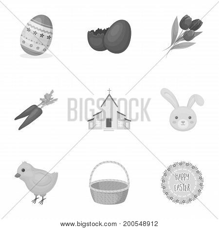Easter cake, egg, chicken, rabbit, butterfly and other attributes. Easter set collection icons in monochrome style vector symbol stock illustration .