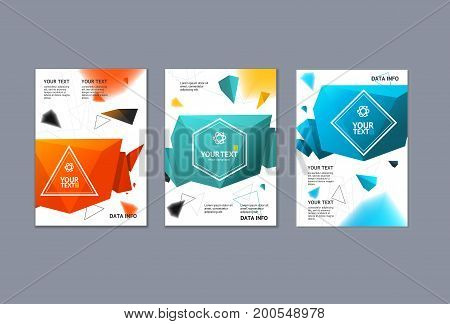 Placard, Poster or Flyer Template Set Colorful Modern Geometric Trendy Design for Advertising and Presentation Origami Bubble Speech on a Gray Background. Vector illustration