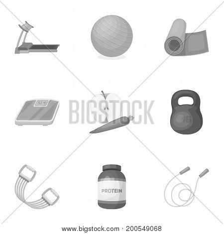 Jump rope, ball, scales other items for health.Gym And Workout set collection icons in monochrome style vector symbol stock illustration.