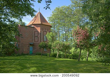 Historical water tower listed as monument in Kreutzmannshagen Mecklenburg-Vorpommern Germany.