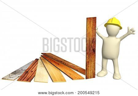 3d builder with new parquet planks. Isolated on white background. 3d render