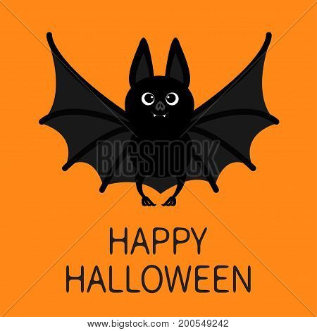 Bat standing flying. Happy Halloween. Cute cartoon character with open wing ears and legs. Black silhouette. Forest animal. Flat design. Orange background. Greeting card. Vector illustration