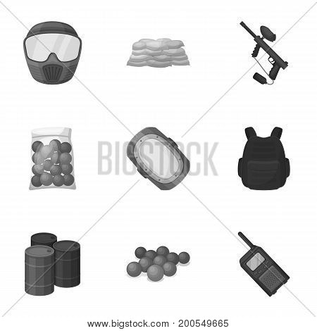 Marker for paintball, equipment, balls and other accessories for the game. Paintball single icon in monochrome style vector symbol stock illustration .