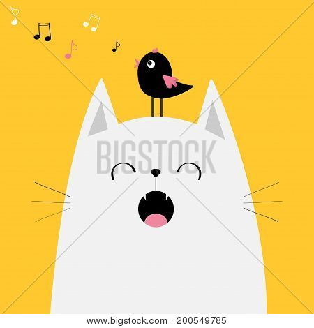 White cat face silhouette Bird on head. Meowing singing song. Music note flying. Cute cartoon funny character. Kawaii animal. Baby card. Pet collection. Flat design. Yellow background Isolated. Vector