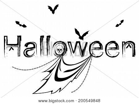 halloween vector illustration with ghost bats skull and chain