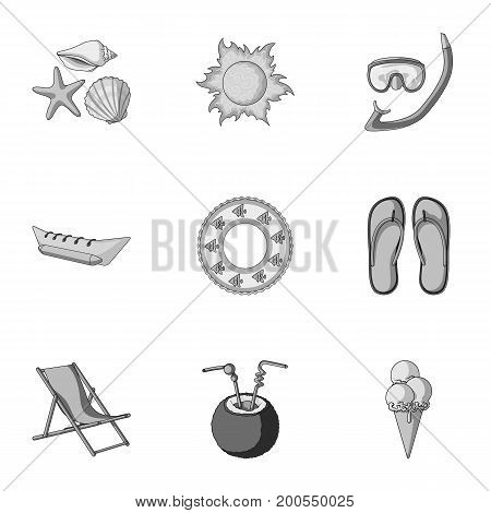 Chaise longue, ice cream, glasses items for summer holidays.Summer rest set collection icons in monochrome style vector symbol stock illustration .