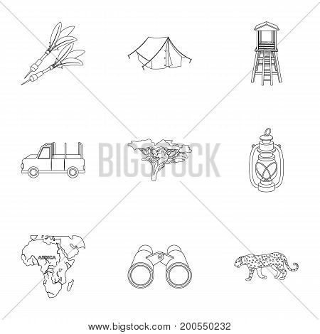 Rifle, mask, map of the territory, diamonds and other equipment. African safari set collection icons in outline style vector symbol stock illustration .