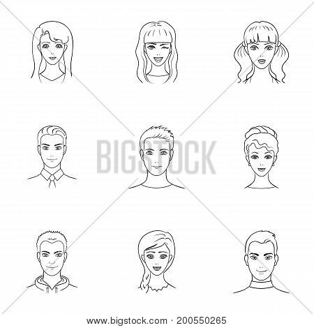 Set of different avatars girls and men. Avatar and face icon in set collection on outline style vector symbol stock web illustration.